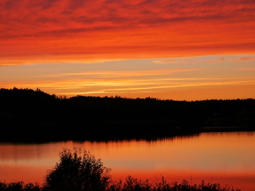 Red Orange Sunset Lubec Maine