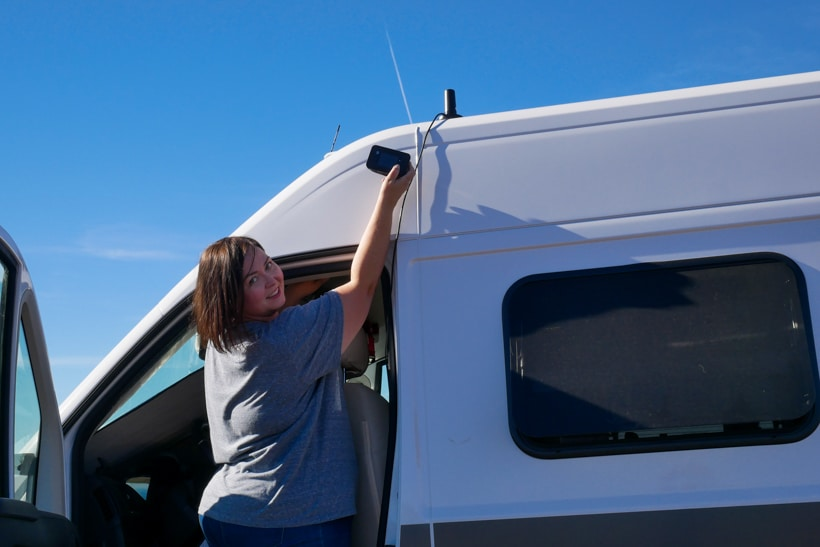 Weboost antenna on Hymer aktiv camper van